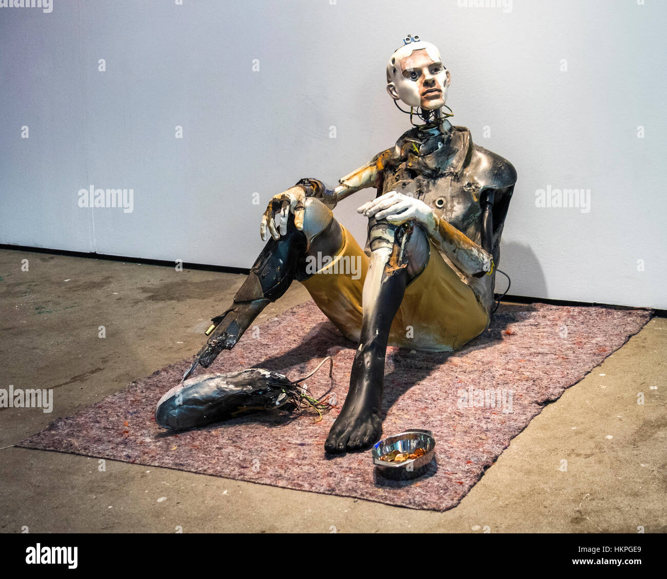 Berlin Mitte. Disintegrating robot at C-HR Innovation and Creativity Festival in  historic Kaufhaus Jahndorf building - Stock Image