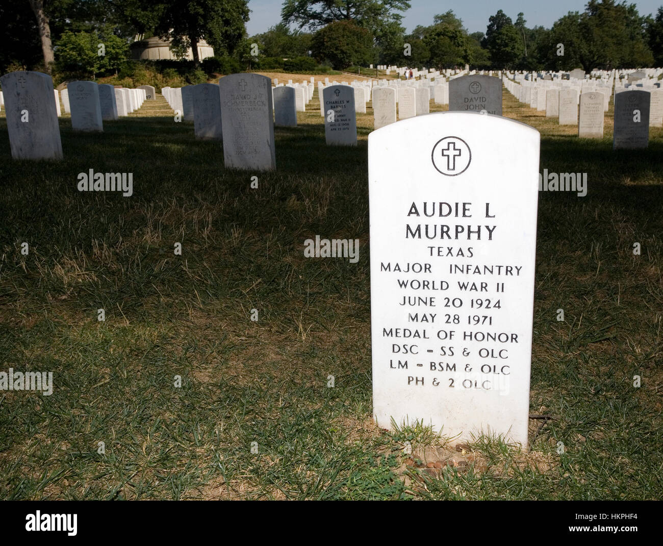 grave marker for audie murphy in arlington national cemetery stock