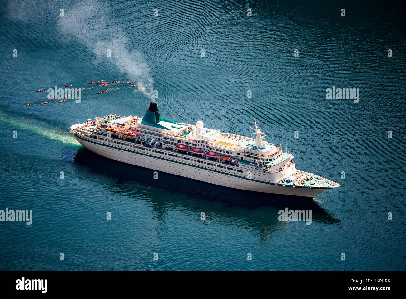 Cruise Ship, Cruise Liners On Geiranger fjord, Norway. Tourism vacation and traveling. - Stock Image
