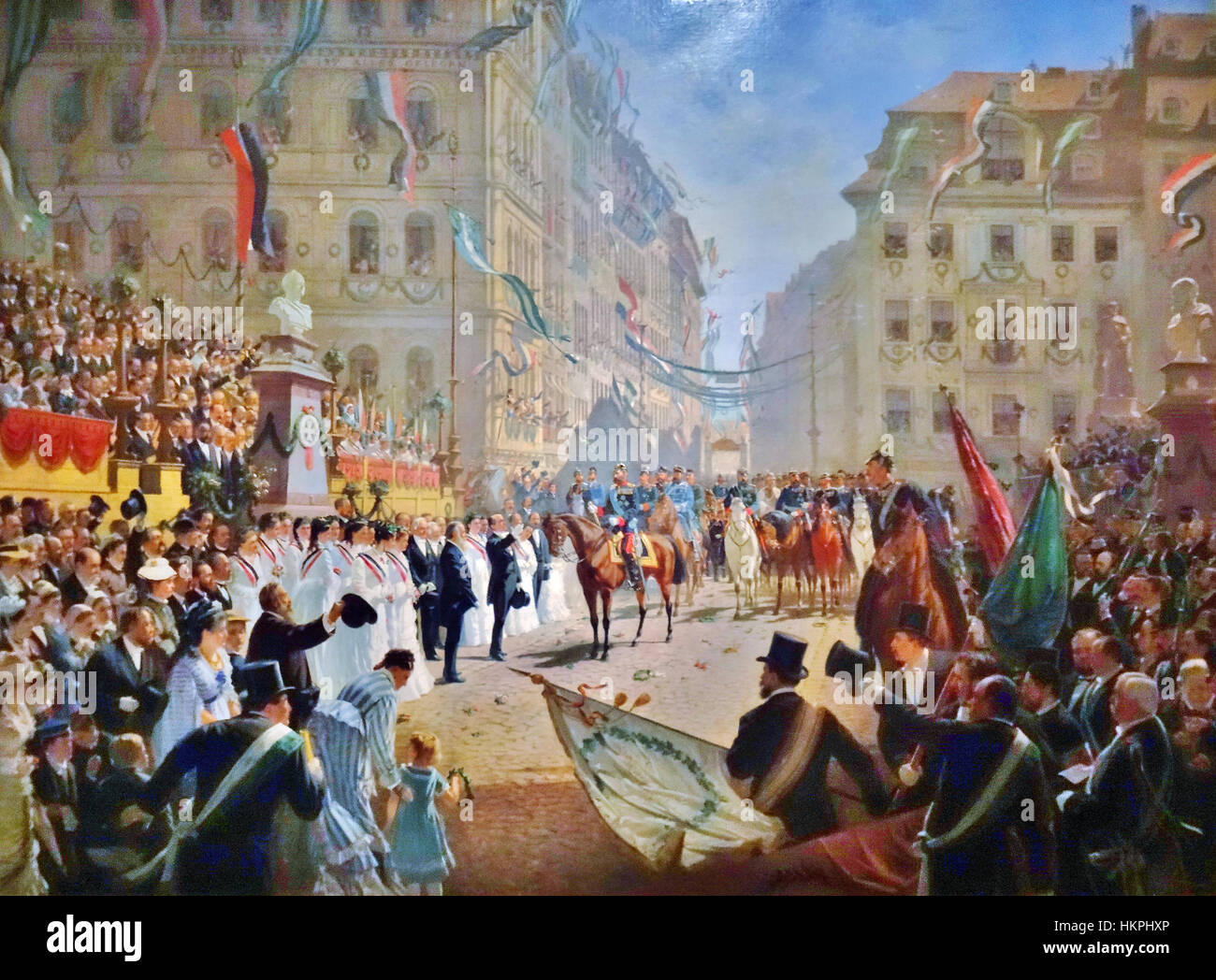 FRANCO-PRUSSIAN WAR 1870. Prince Albert of Saxony celebrates the Prussian victory at a parade in Dresden in July - Stock Image