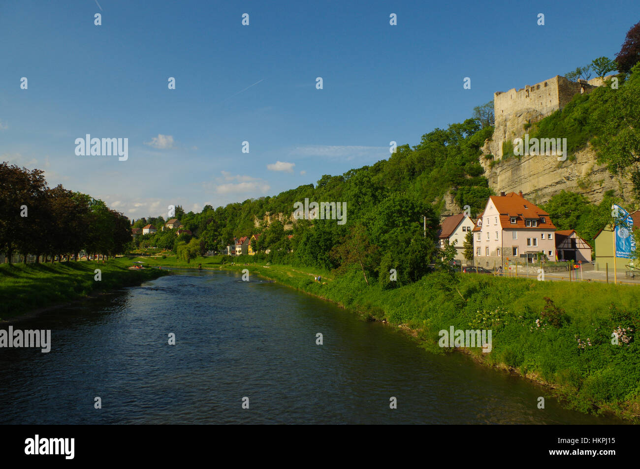 the River Enz in Muhlacker, Baden-Wuerttemberg, Germany, Europe - Stock Image