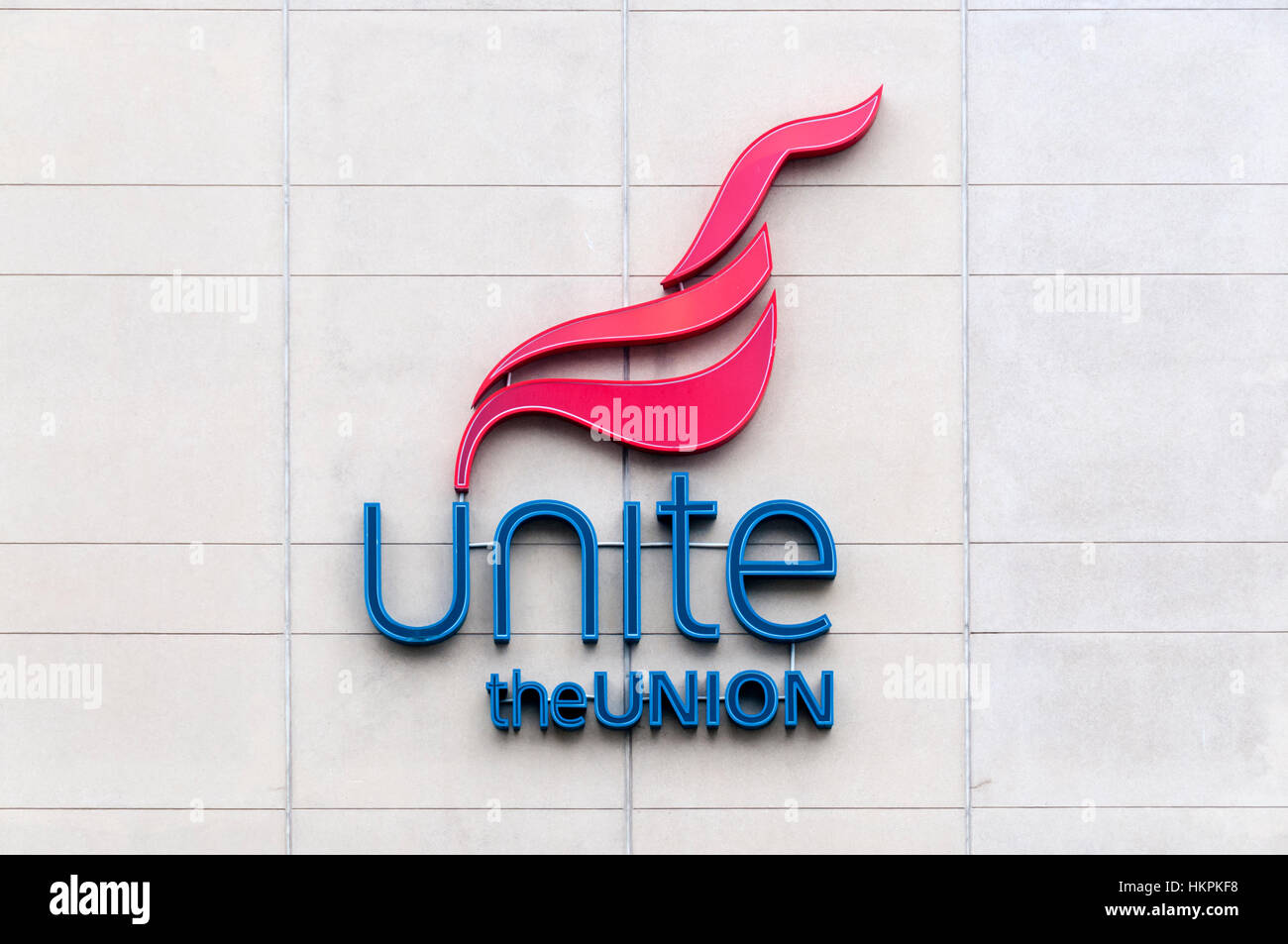 Logo of Unite the Union on district office building in Newcastle. - Stock Image