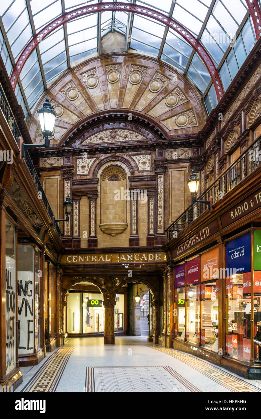 The Central Arcade, Newcastle was built in 1906 & designed by the Newcastle firm of Oswald and Son. - Stock Image