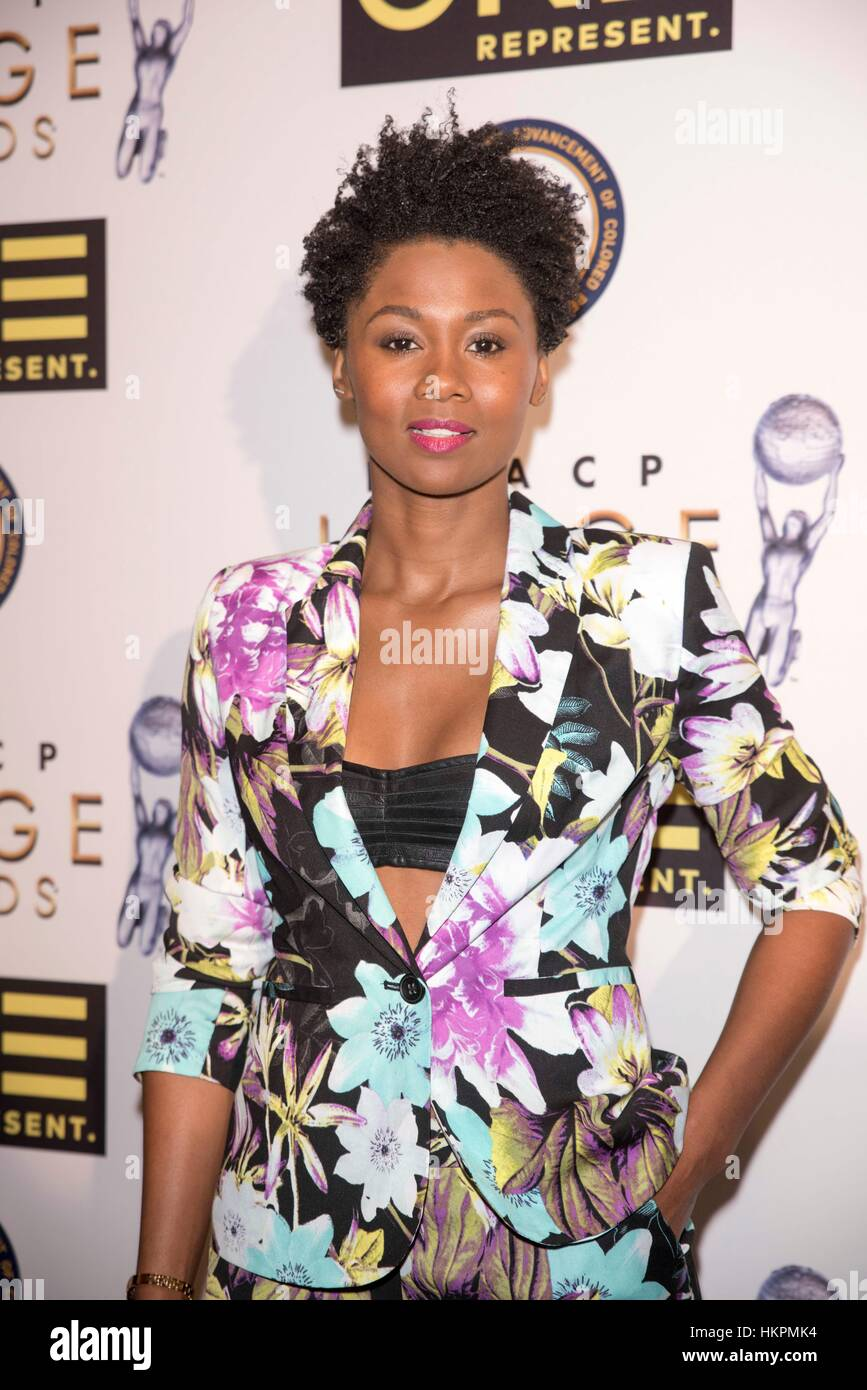 Actress Emayatzy Corinealdi attends The 48th NAACP Image Awards Nominees' Luncheon January 28th, 2017 in Loews - Stock Image