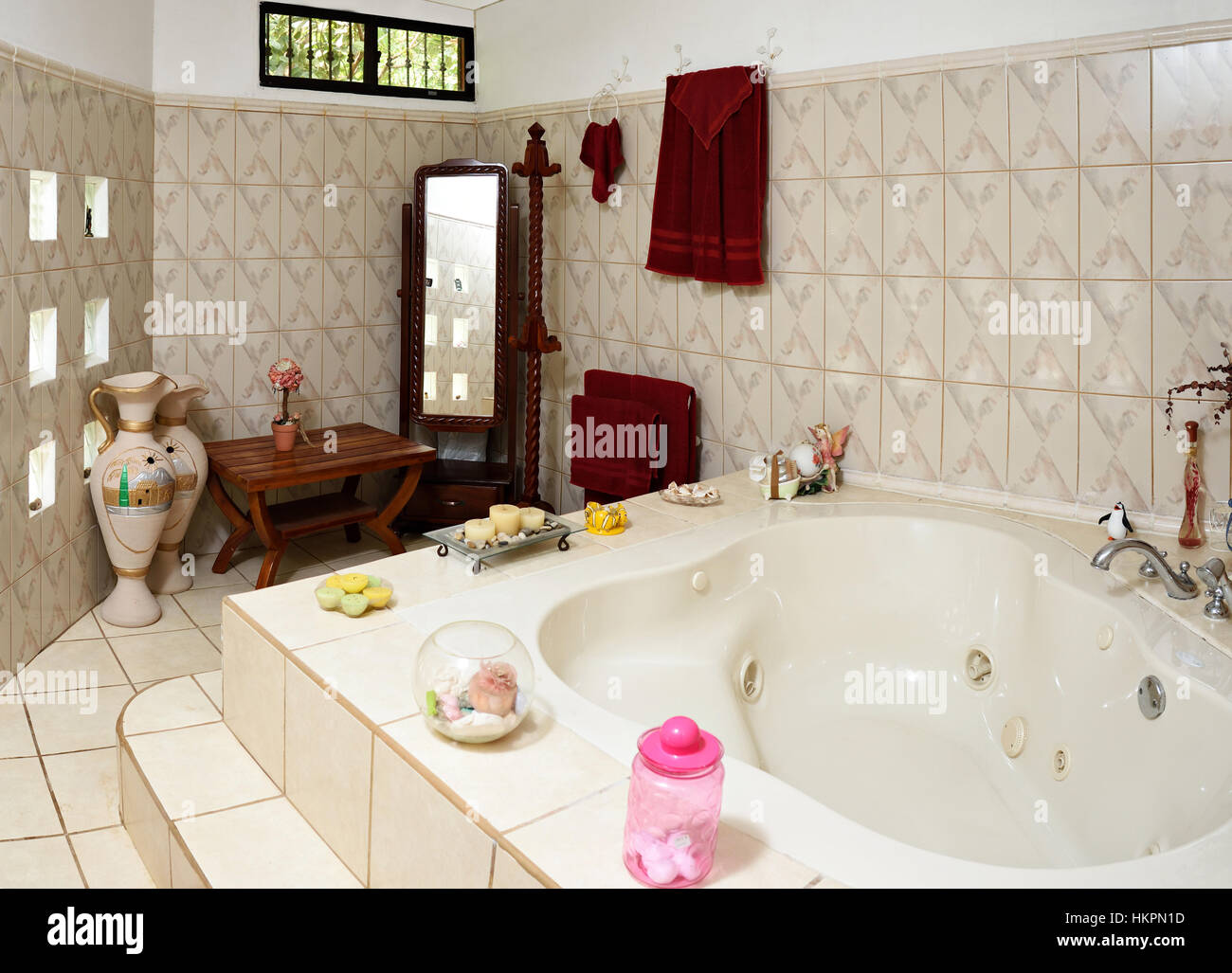 white empty jacuzzi in big home with accessories Stock Photo ...