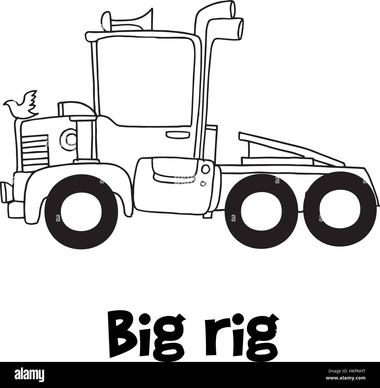 Big Rig With Hand Draw Vector Stock Image