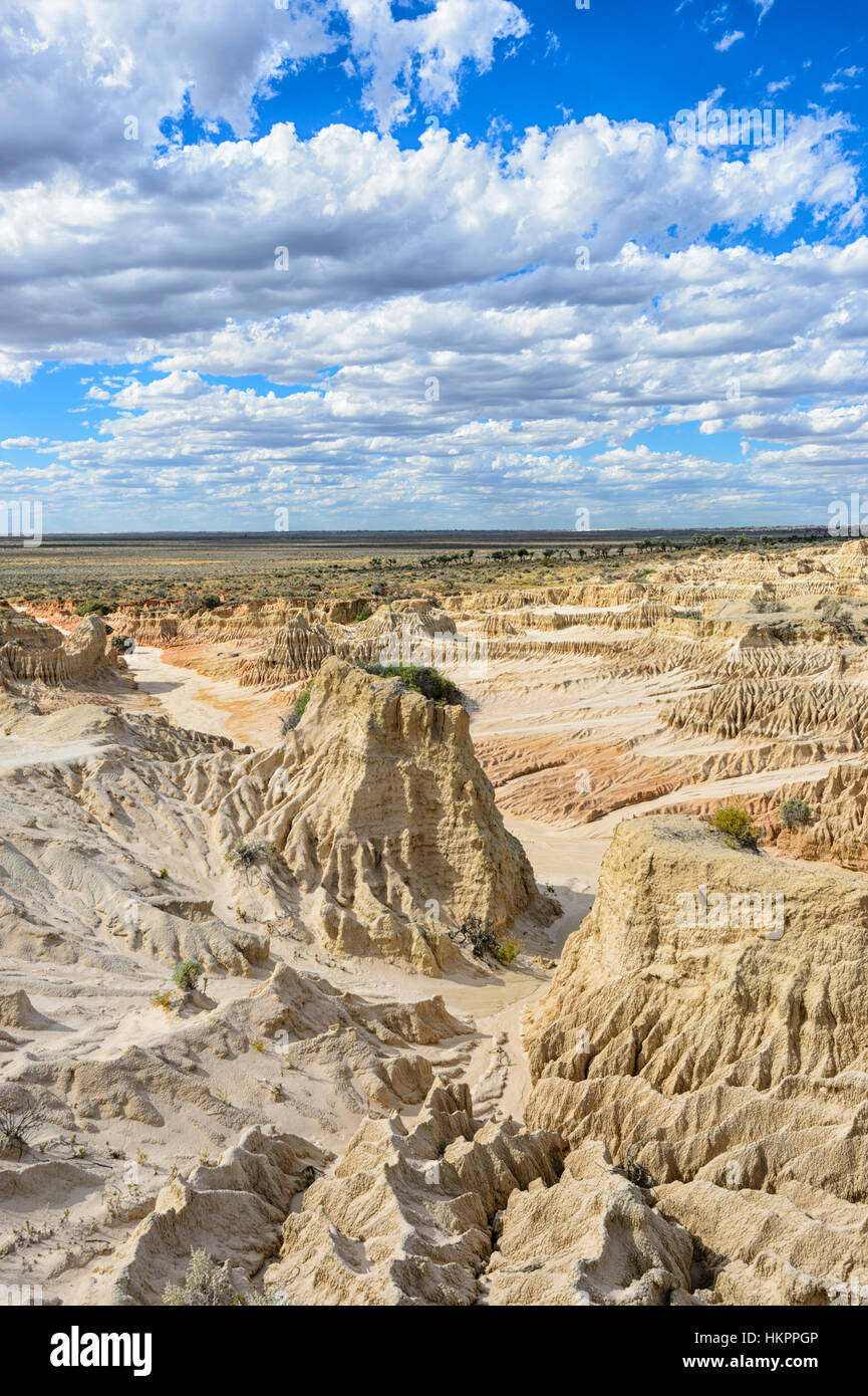 Spectacular eroded rock formations of the Lunette, Mungo National Park, New South Wales, Australia - Stock Image