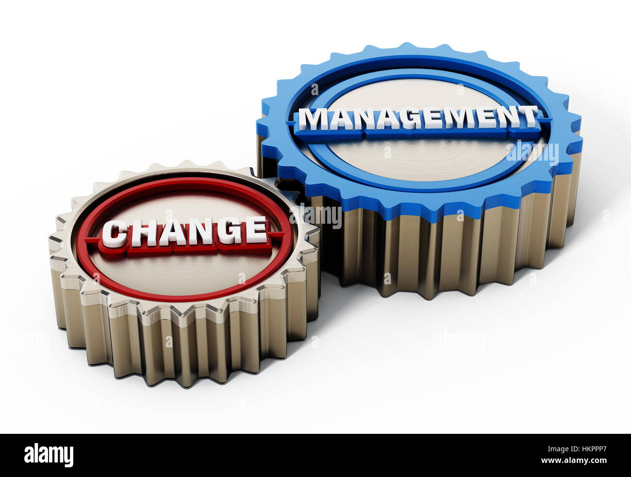 Change management gears isolated on white background. 3D illustration. - Stock Image