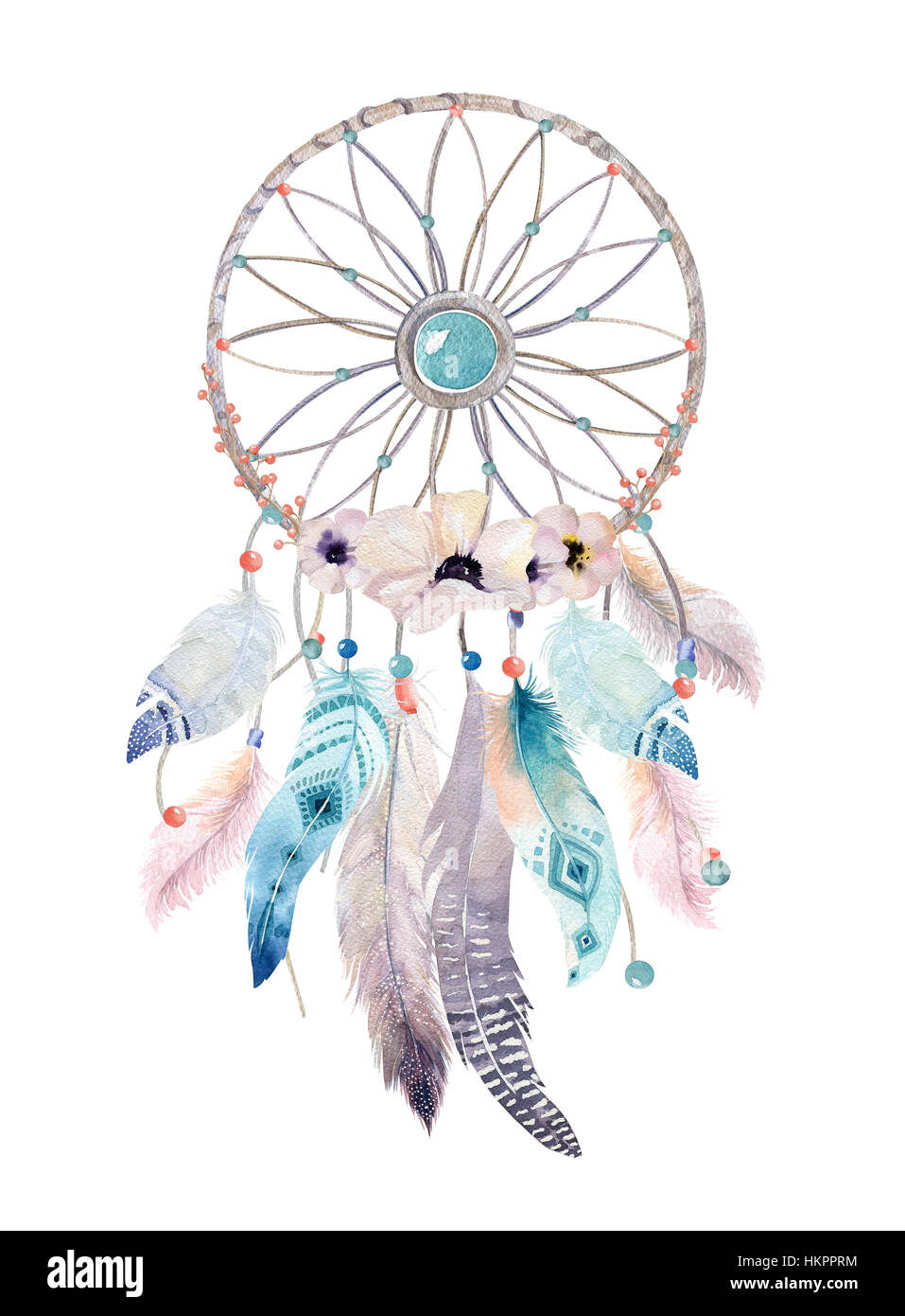 Isolated Watercolor decoration bohemian dreamcatcher. Boho feath - Stock Image