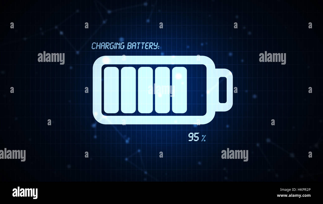 Battery charging icon illustration, rechargeable energy power for mobile electronics devices concept - Stock Image