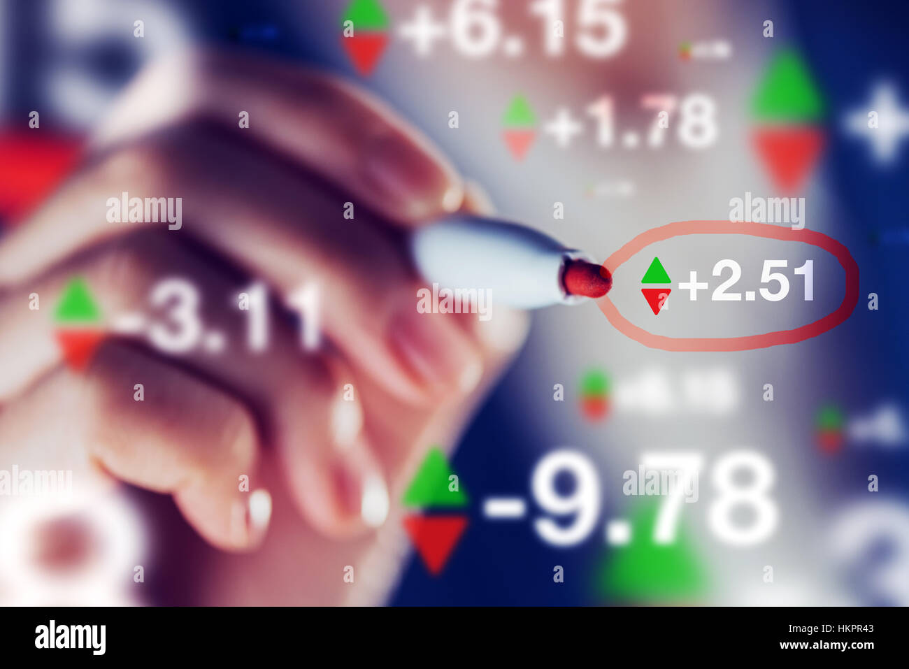 businesswoman tracking stock market indicators business trade and