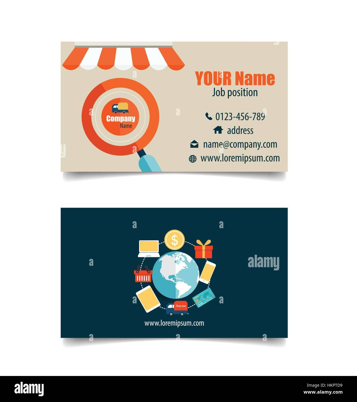 Modern business card template with business concept online shopping modern business card template with business concept online shopping infographics background e commerce vector illustration reheart Choice Image
