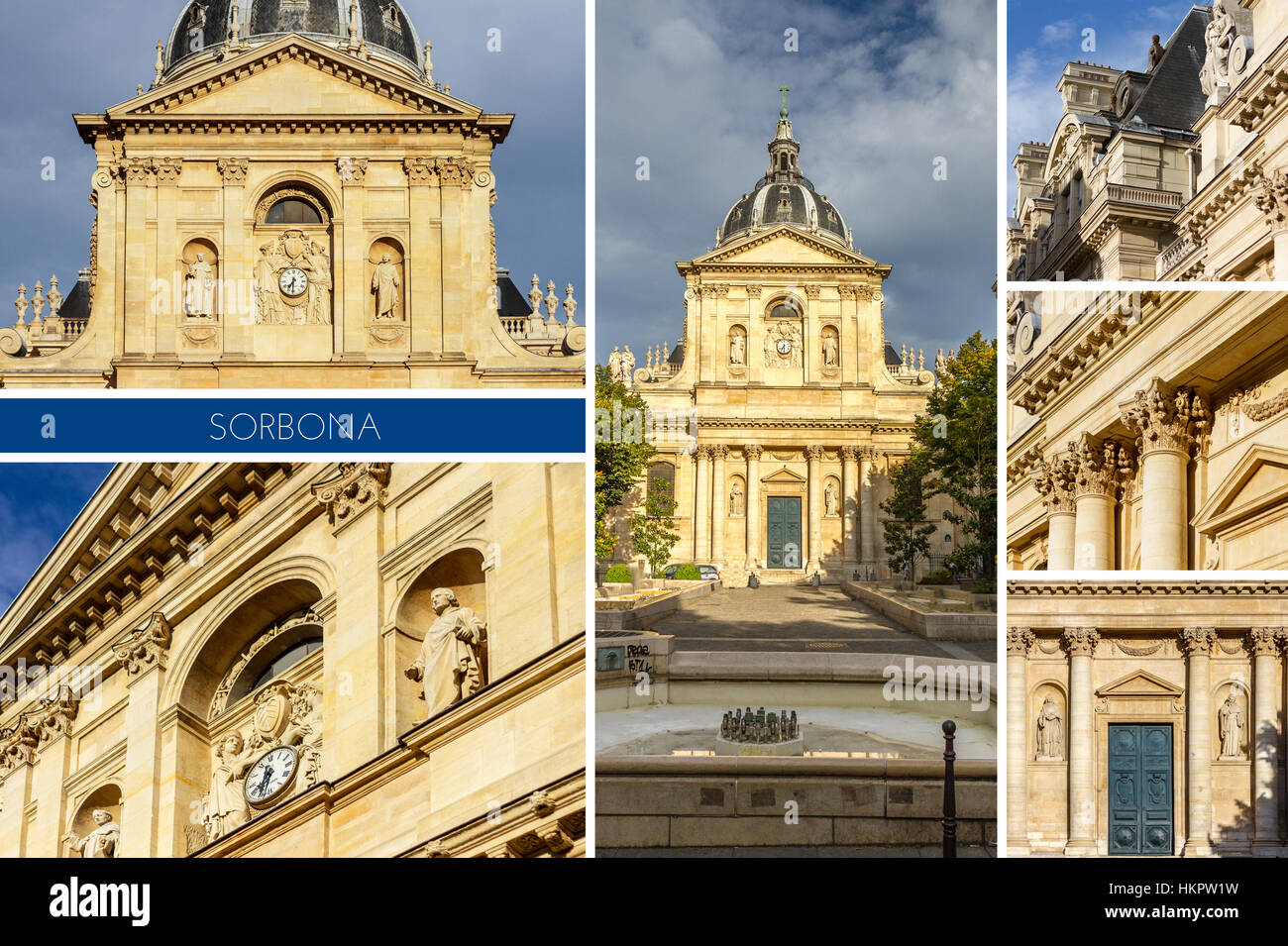Historical house of Sorbonne the former University of Parisis edifice of the Latin Quarter in Paris, France. - Stock Image