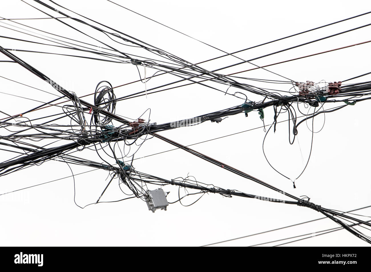 The electrical wires on a white background. Electric cables against ...