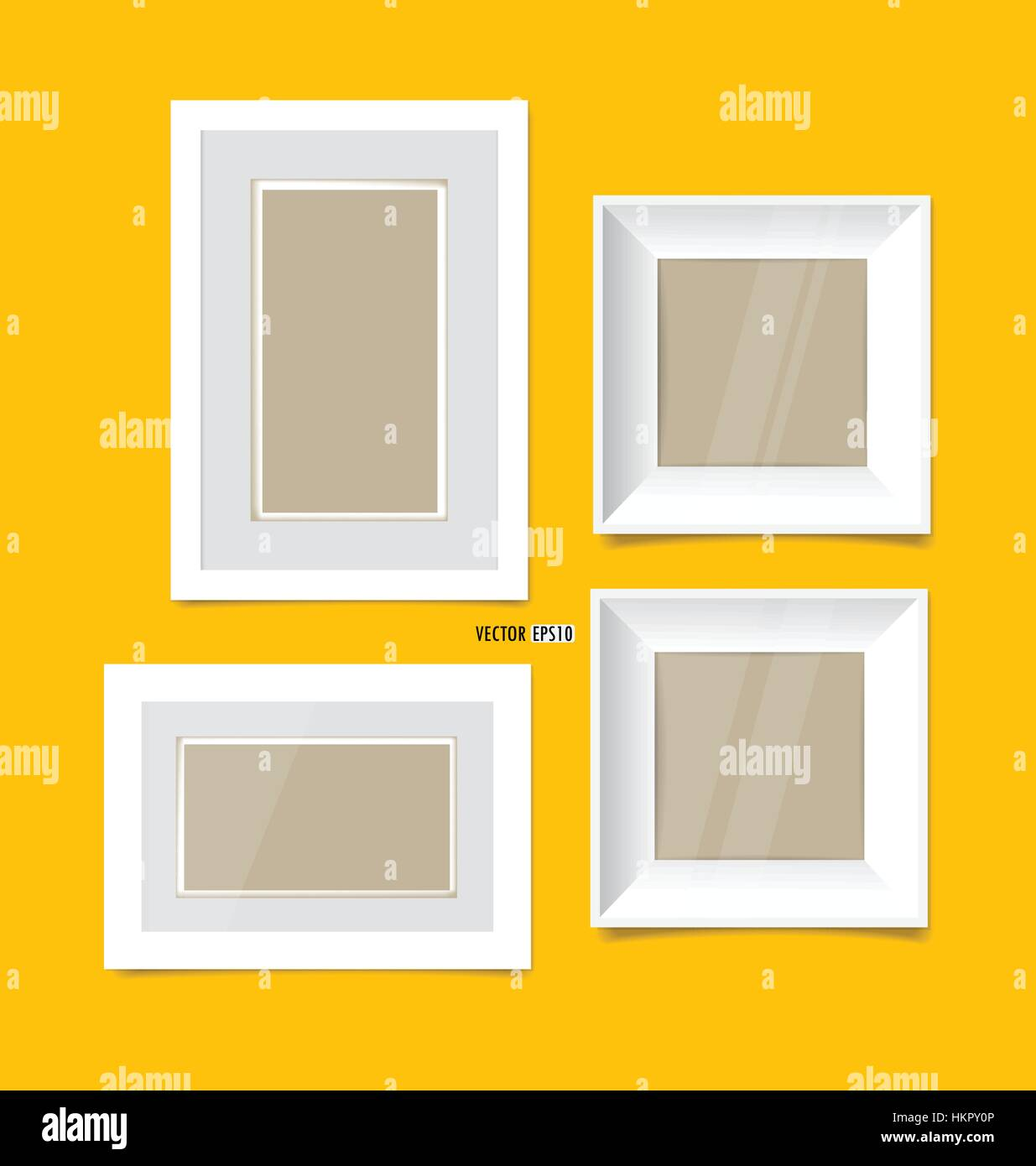 Picture frames on yellow wall. Vector EPS10 Stock Vector Art ...