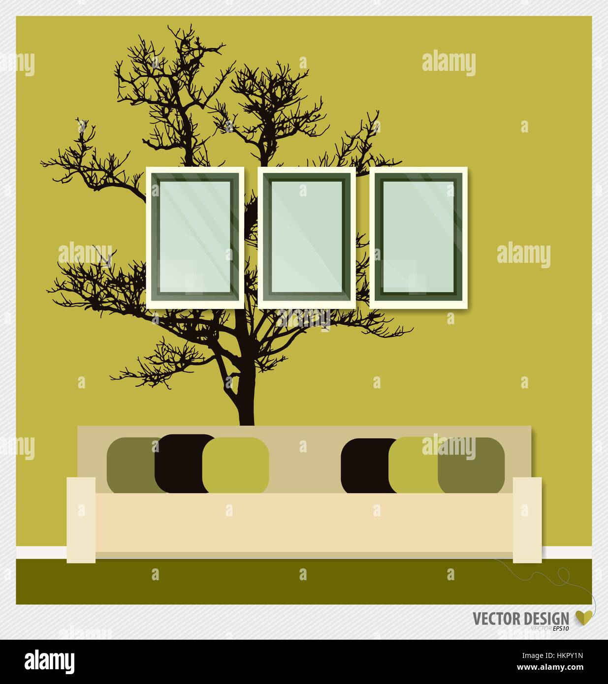 Three empty frames on a wall and Decorative Wall Stickers For Your ...