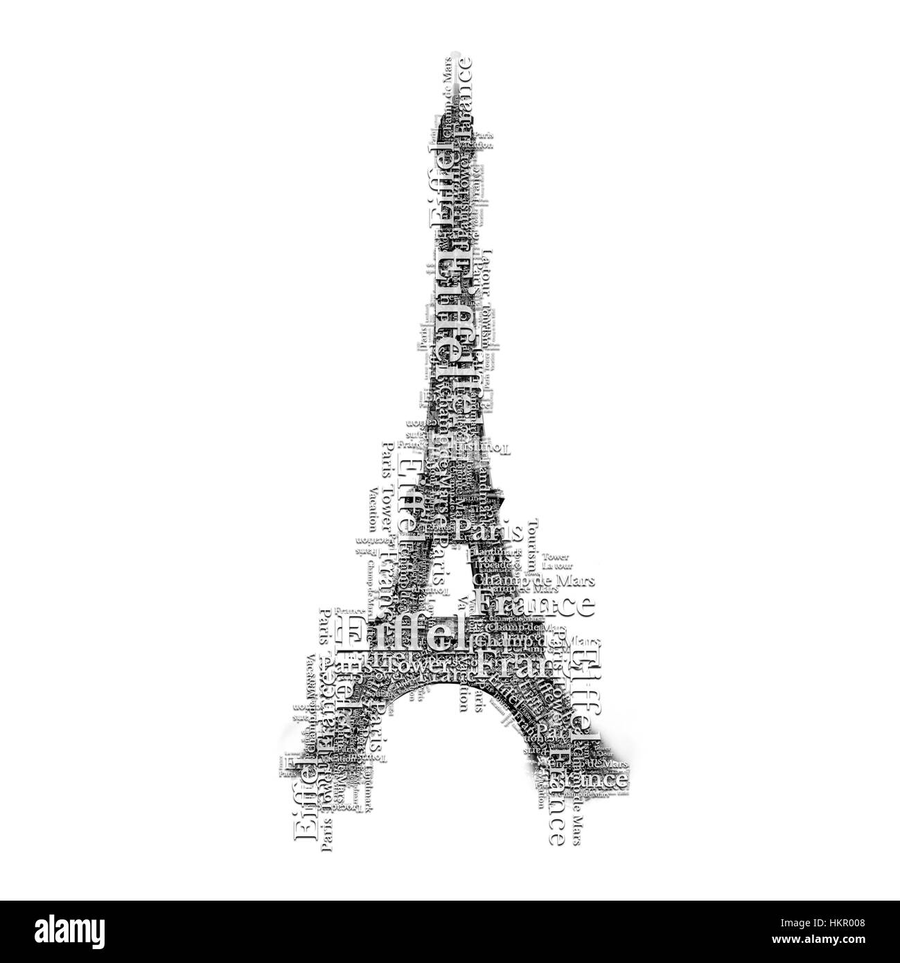 Eiffel tower in Paris make of many words. Lettering art symbol. France famous place. - Stock Image