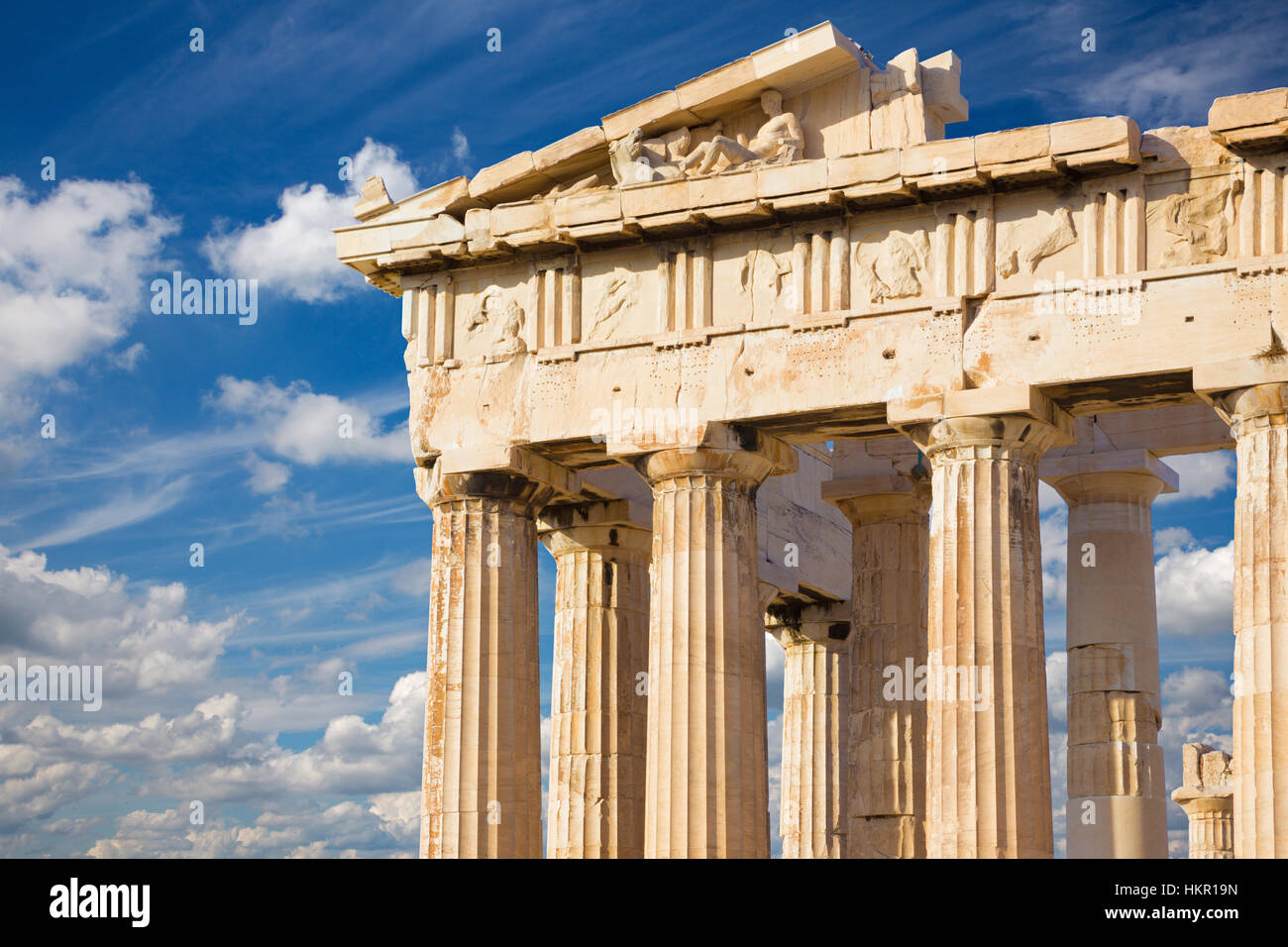 Athens - The Pathenon temple on The Acropolis and beautiful cloudscape - Stock Image