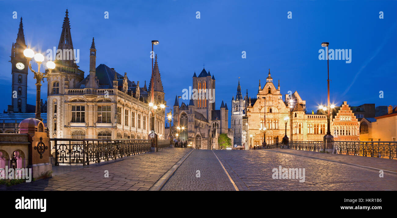 GHENT, BELGIUM - JUNE 24, 2012: Look from Saint Michael s bridge to Nicholas church and town hall in evening. - Stock Image