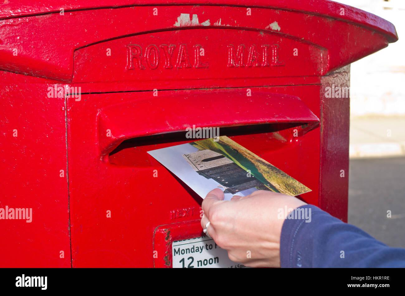 Posting postcard card UK Stock Photo