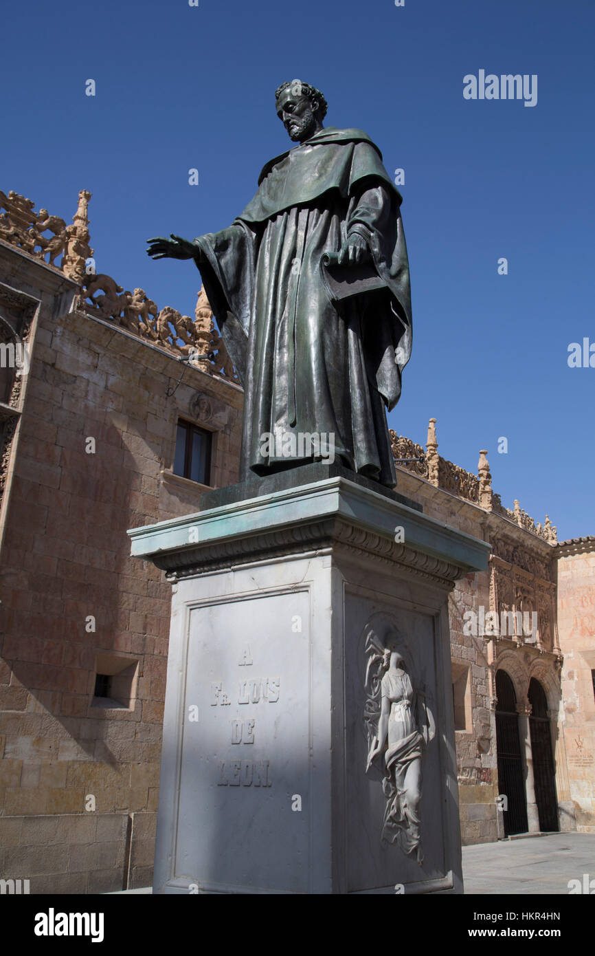 Statue of Father Luis of Leon, Salamanca, UNESCO World Heritage Site, Spain - Stock Image