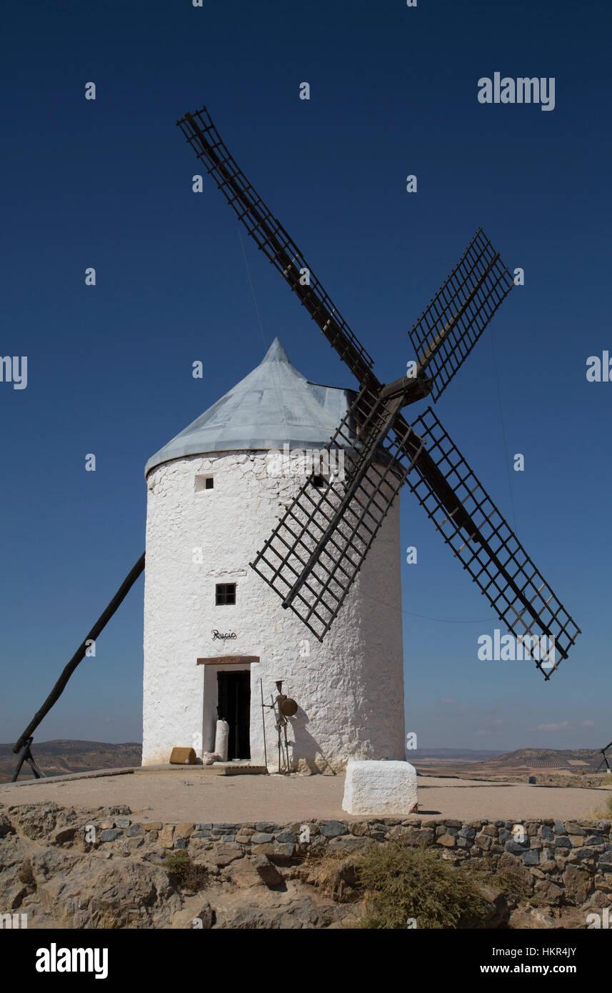 Windmill, Consuegra, Castile-La Mancha, Spain - Stock Image