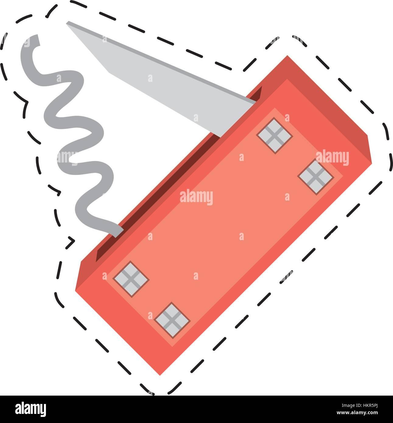 swiss knife multi functional tool cut line - Stock Image