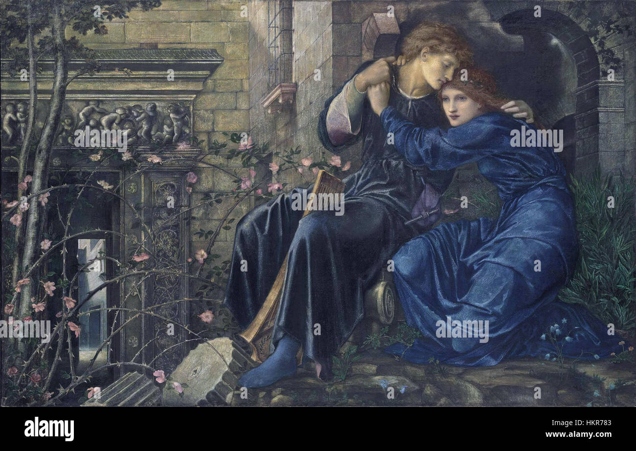 Burne-jones-love-among-the-ruins - Stock Image
