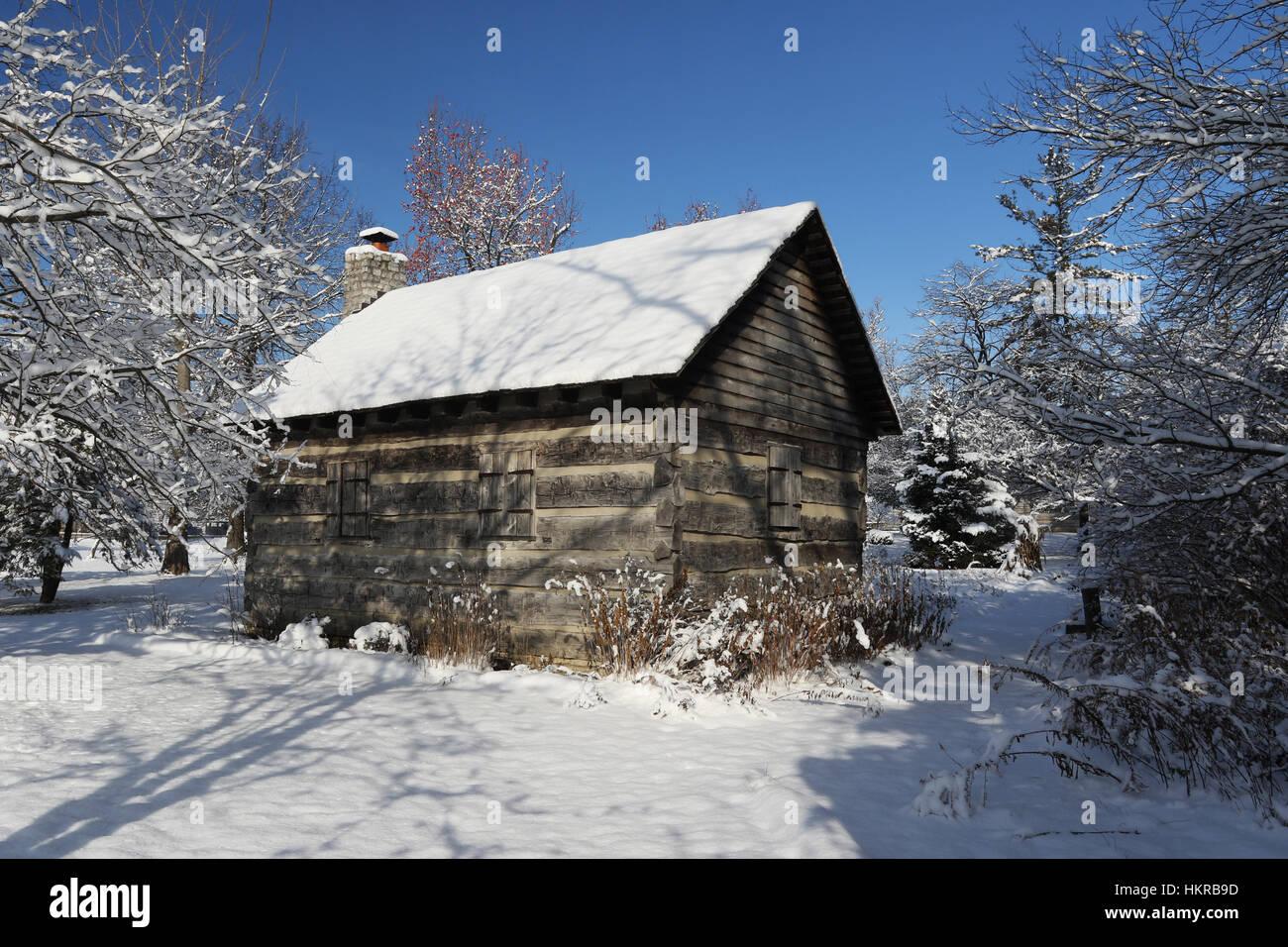 Log Cabin in Winter Snow at Wartinger Park, Beavercreek