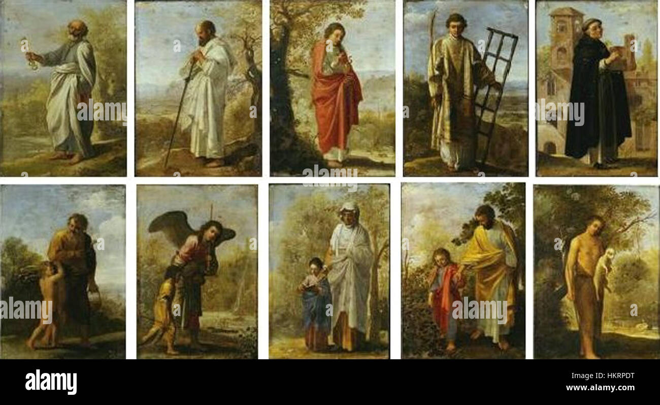 Cornelis van Poelenburch - A set of small religious scenes (after Adam Elsheimer) Stock Photo