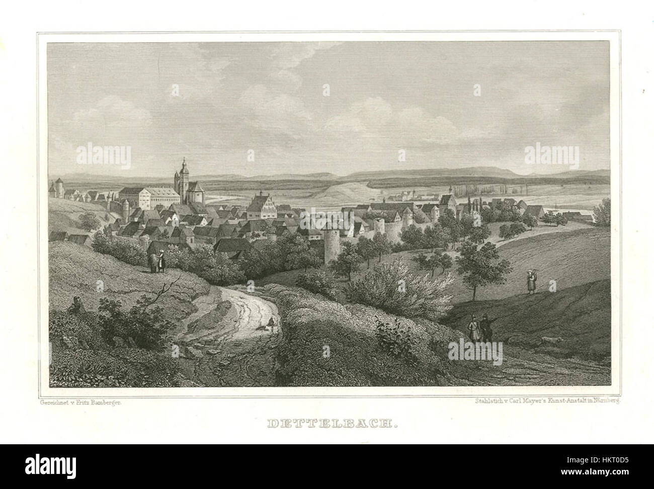 Dettelbach Stahlstich 1847 - Stock Image
