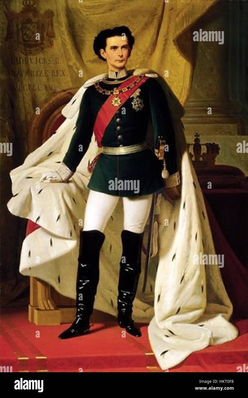 De 20 jarige Ludwig II in kroningsmantel door Ferdinand von Piloty 1865 - Stock Image