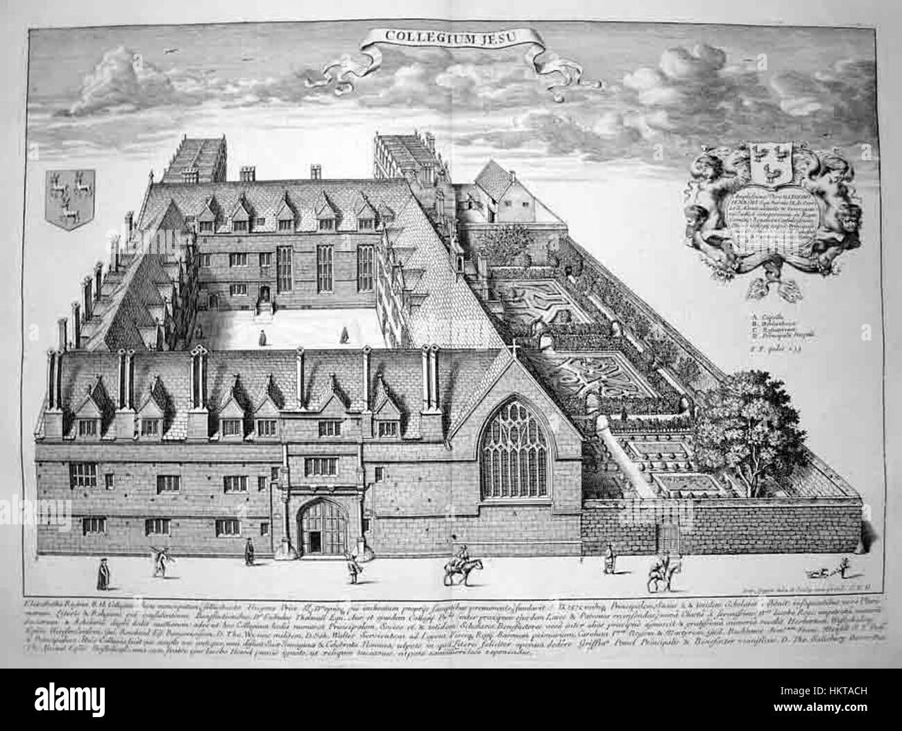 Engraving Jesus College 1675 - Stock Image