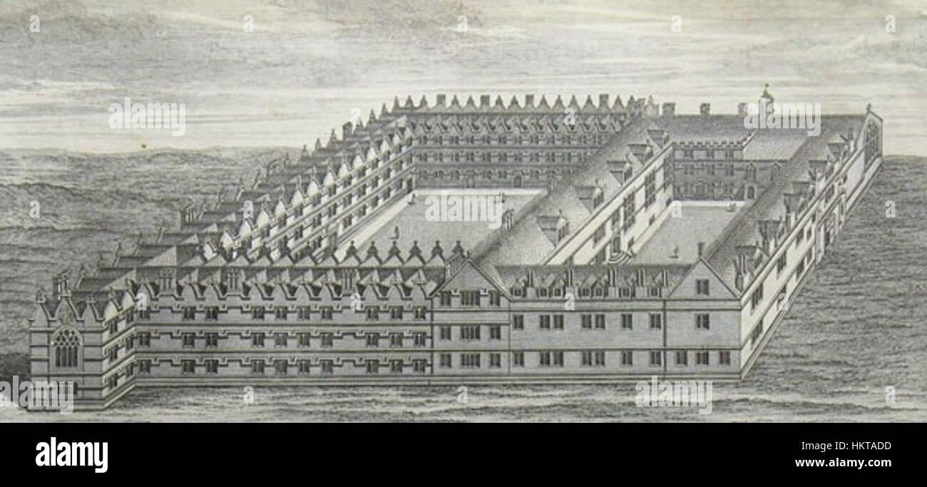 Engraving Jesus College 1740 - Stock Image
