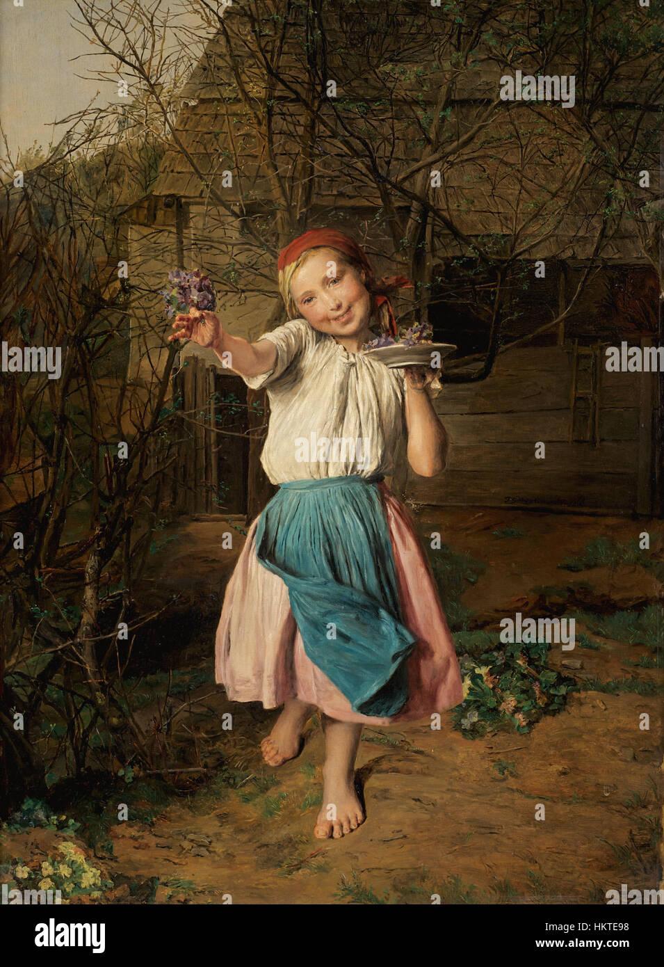Ferdinand Georg Waldmuller (1793-1865) - Das Veilchenmadchen (The Violet Girl) - Stock Image