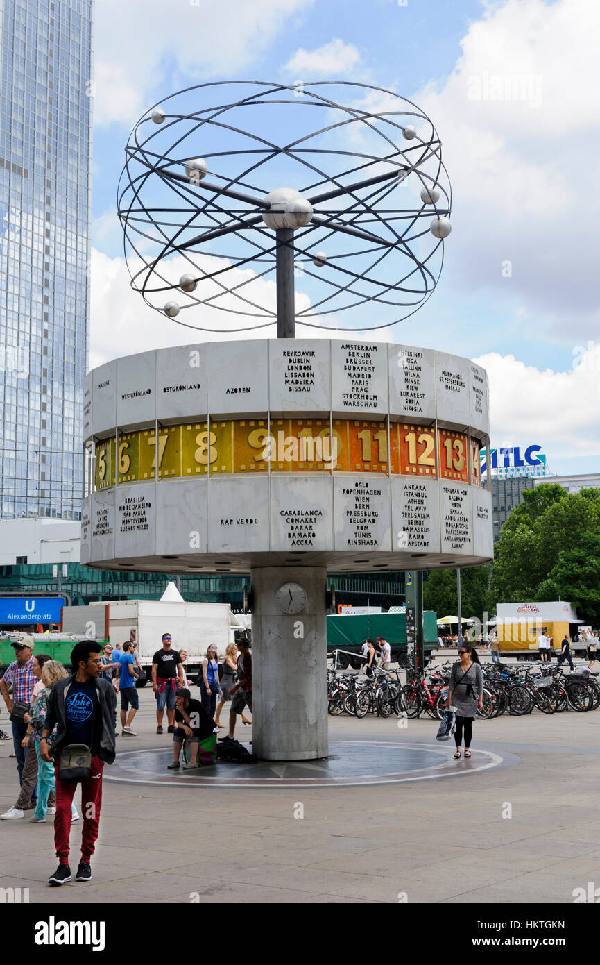 The rotating World Clock with small planets above in Alexanderplatz in Berlin, Germany. - Stock Image