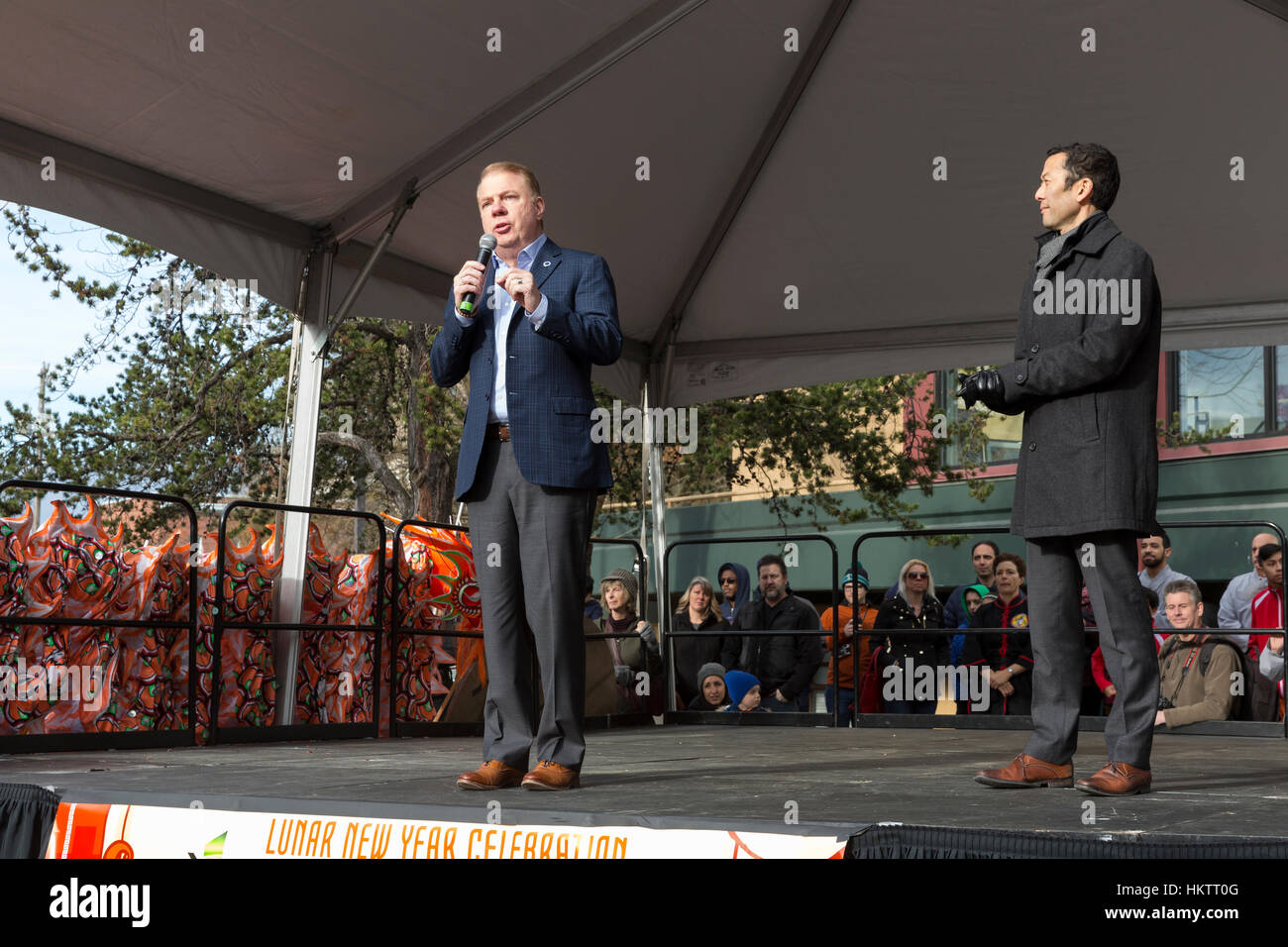 Seattle, USA. 29th Jan 2017. Mayor Ed Murray appears with his husband Michael Shiosaki at the Lunar New Year Celebration - Stock Image