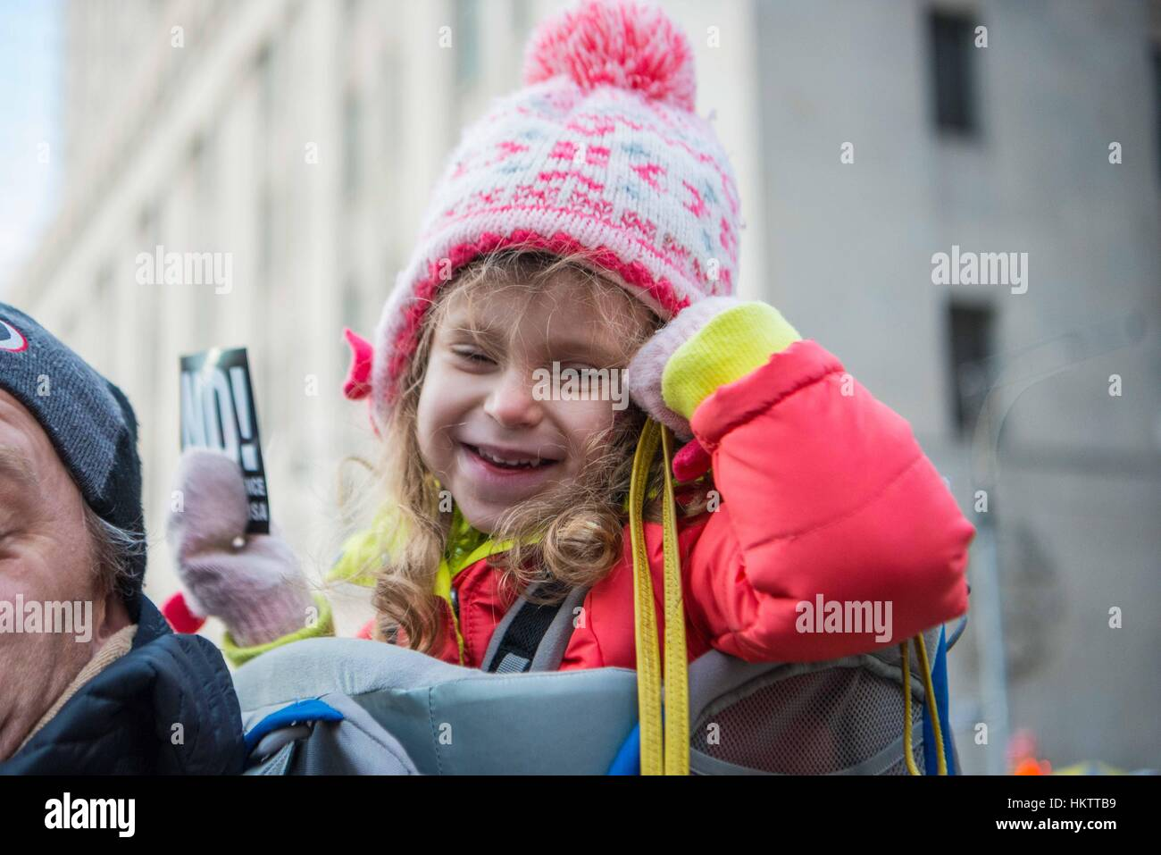 New York City, USA. 29th Jan, 2017. Protestors and marches at a rally to support immigrants and express outrage - Stock Image