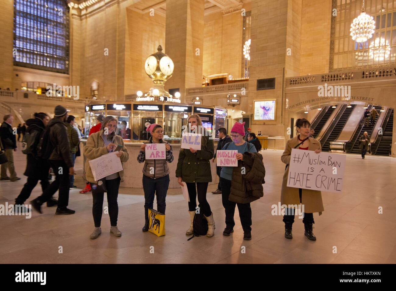 New York City, USA. 29th Jan, 2017. Group of women protesting at Grand Central, New York City against President - Stock Image