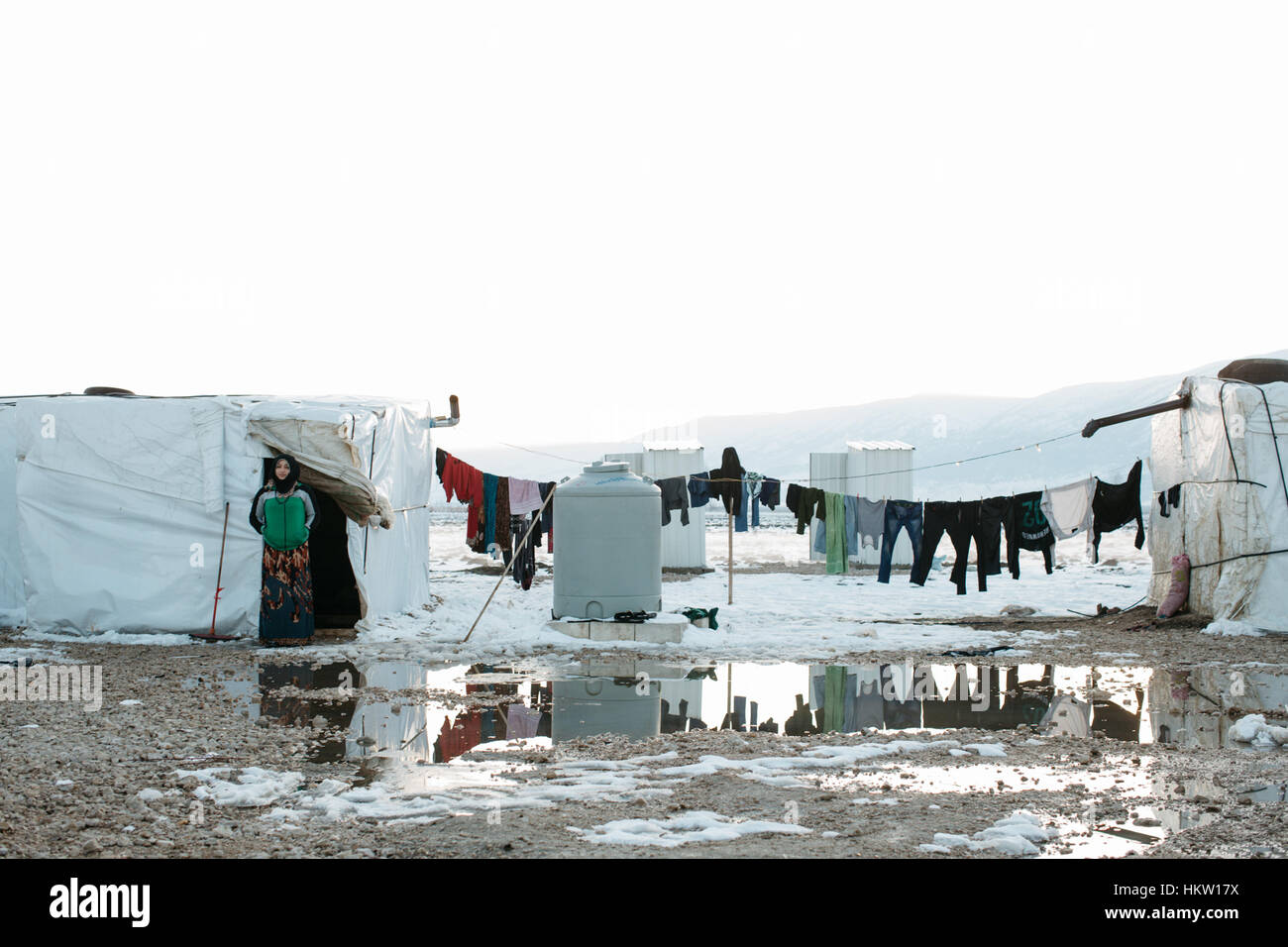 Fares, Lebanon. 29th Jan 2017. Migrants camp 99 at the valley of Beqaa in the border of Siria © Mattia Marinollii/Awakening/ - Stock Image