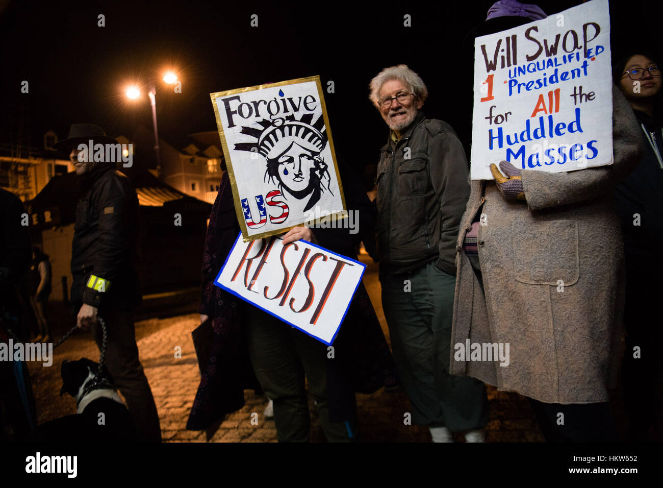PROTESTING AGAINST DONALD TRUMP: Aberystwyth, Wales, UK. 30th Jan, 2017. Around 300 people of all ages and from - Stock Image