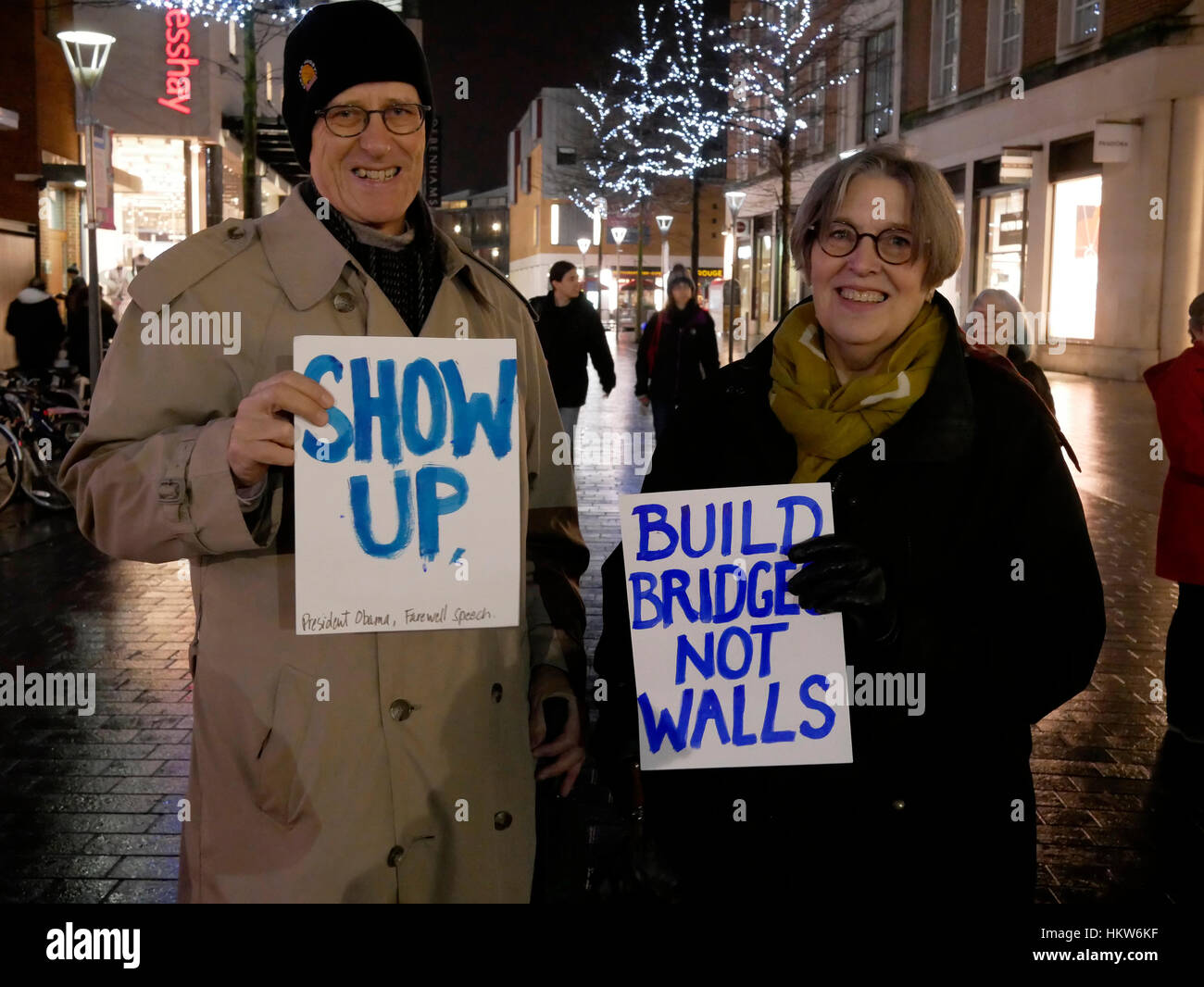 Exeter, UK. 30th Jan, 2017. Demonstration against Trump closure of US borders to Muslim-majority countries in Bedford, Stock Photo