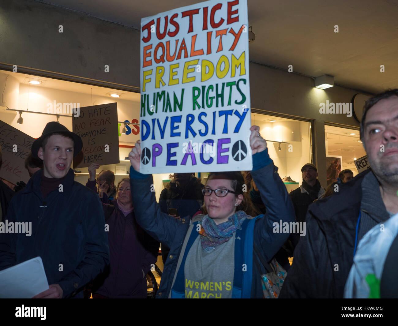 Exeter, UK. 30th Jan, 2017. Demonstration against Trump closure of US borders to Muslim-majority countries in Bedford, Stock Photo