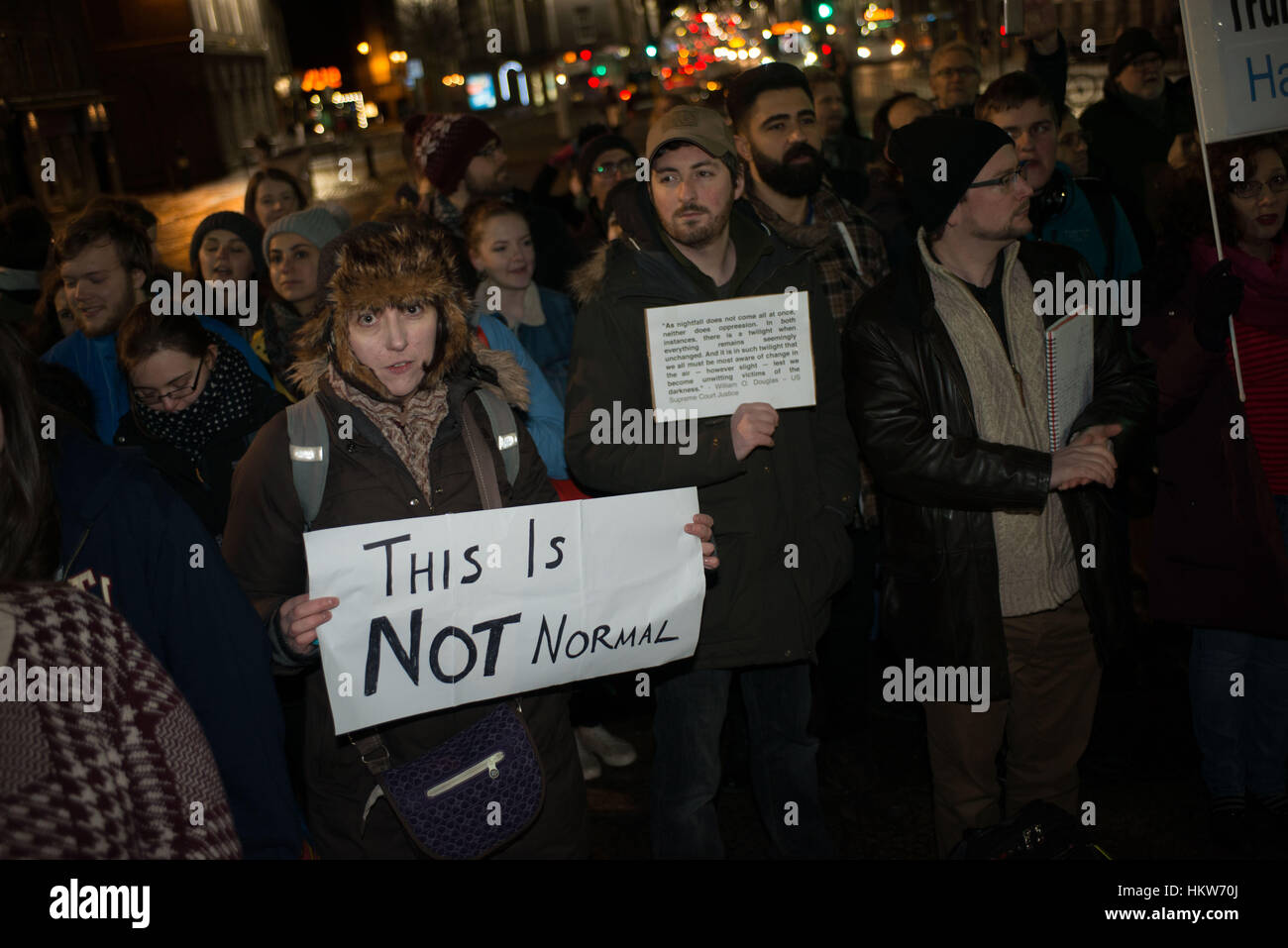 Aberdeen, UK. 30th January, 2017. Anti-Trump travel ban protest attracts hundreds of people in central Aberdeen, - Stock Image