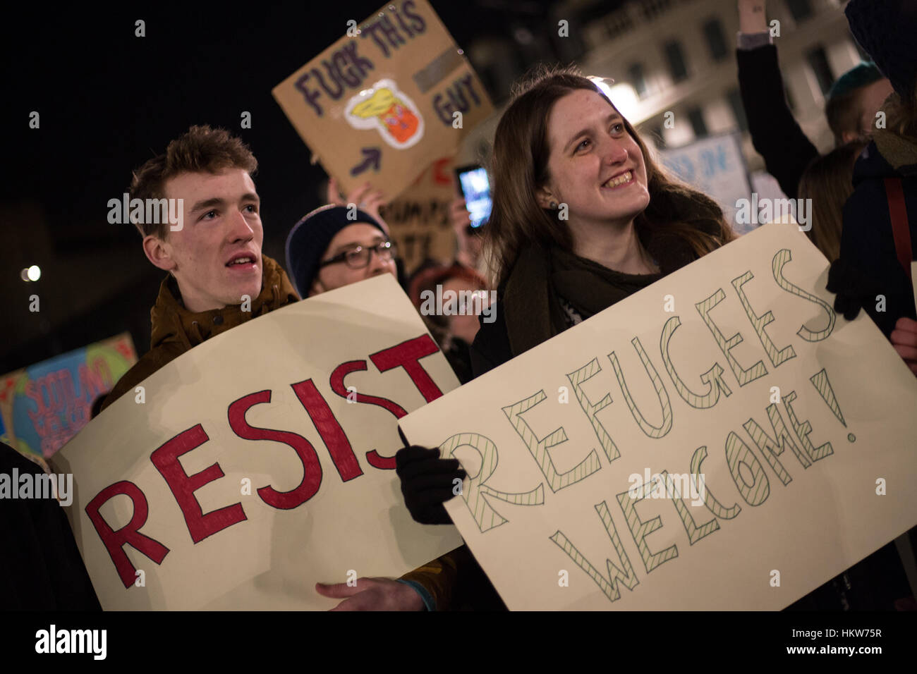 Glasgow, UK. 30th Jan, 2017. Protest against the policies and Presidency of Donald Trump, President of the United - Stock Image