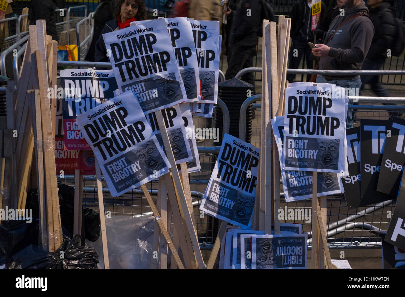 London, UK. 30th January, 2017. Amnesty International take part in London protest against Donald Trump's ban on - Stock Image