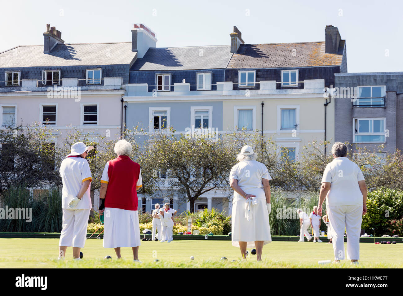 Women playing bowls at The Hoe Public Bowling Club, Plymouth Hoe, Plymouth, Devon, England, United Kingdom - Stock Image