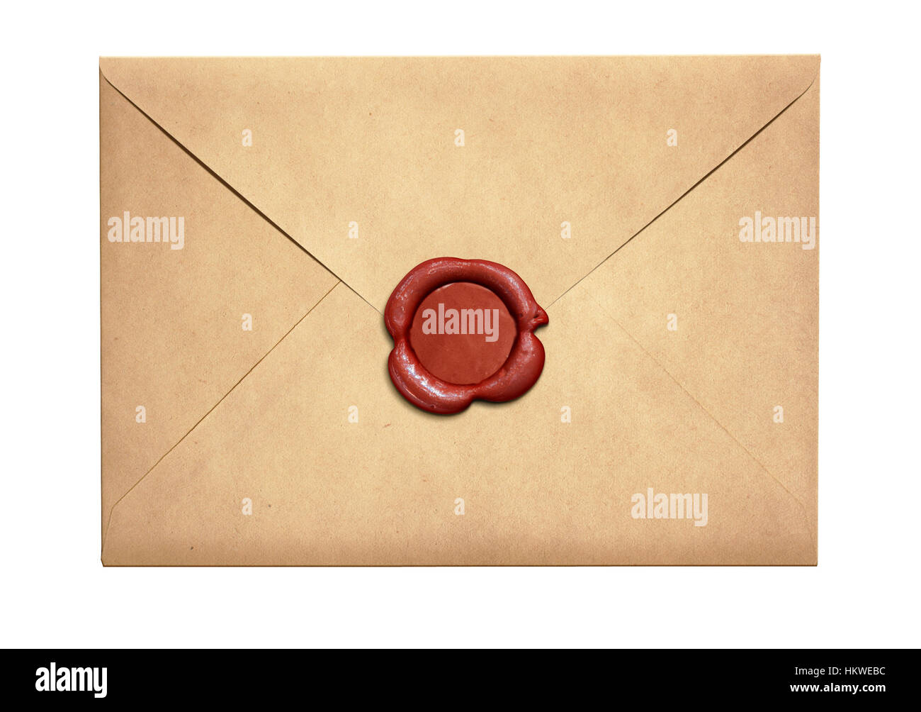 Old letter envelope with red wax seal isolated - Stock Image
