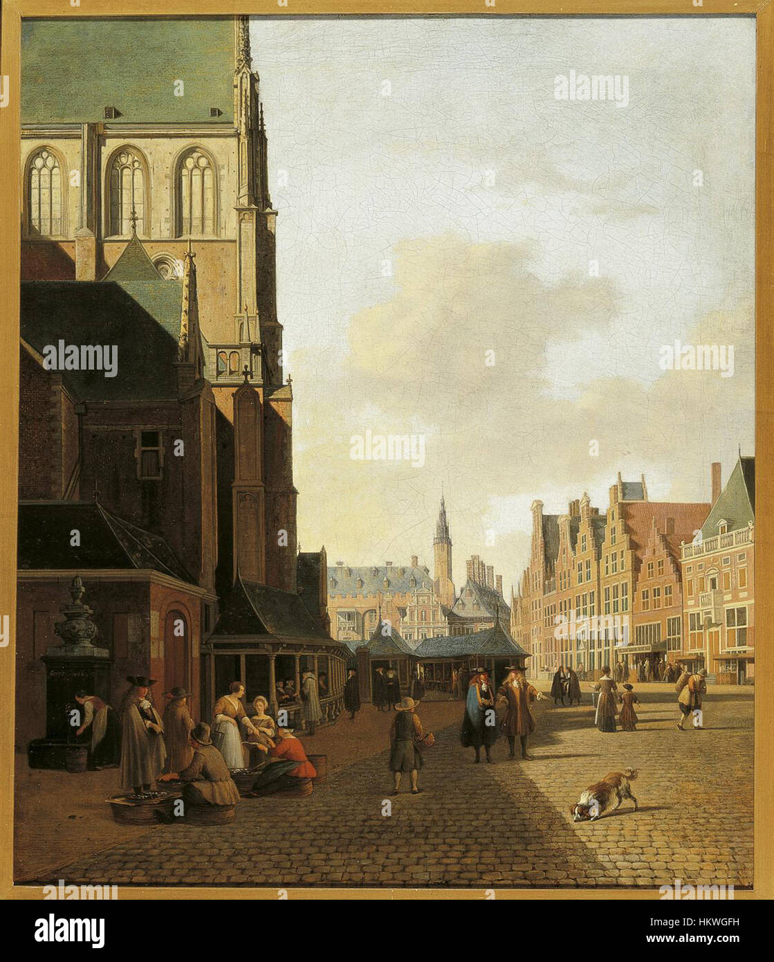 Gerrit Berckheyde - The Fish Market in Haarlem looking towards the Town Hall Stock Photo