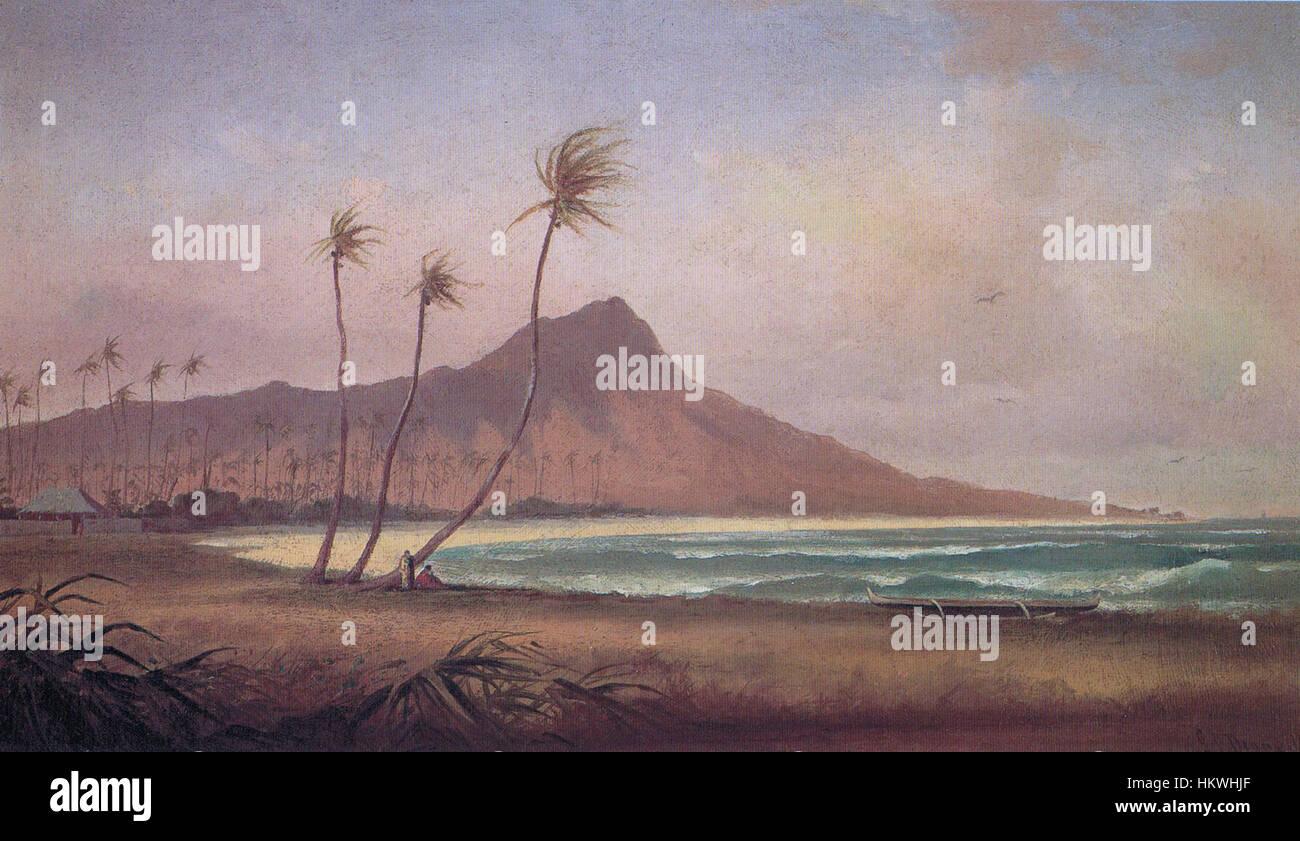 Gideon Jacques Denny - 'Waikiki Beach', oil on canvas, 1868 - Stock Image